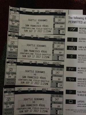 Seahawk tickets !!!