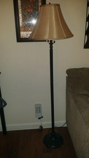 Brown floor lamp w/beige shade