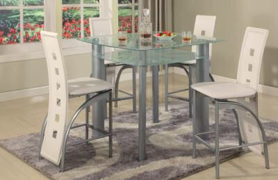 Counter Height Glass Top Metro Dining Room Table And Four Chairs On Sale