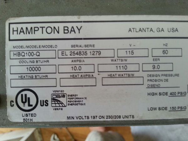 Hvac Hampton Bay 10 000 Btu Window Air Conditioner