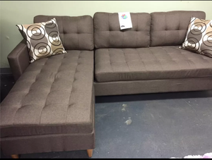 Brand New Brown Linen Sectional Sofa + 2 Accent Pillows
