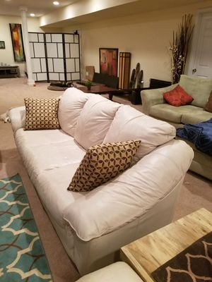 Genuine Leather Sofa with two pillows