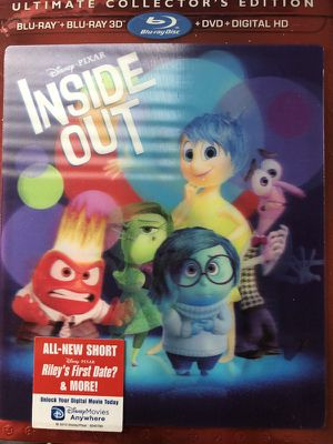 NEW SEALED Disney Pixar Inside Out Exclusive Ultimate Collector's Edition, Collector's Edition, Blu-Ray + DVD + Digital Copy + 3D + DVD + Blu-ray + D