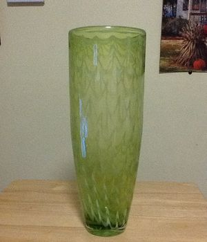 Green Glass flower base