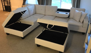 Brand New White Faux Leather Sectional Sofa + Storage Ottoman