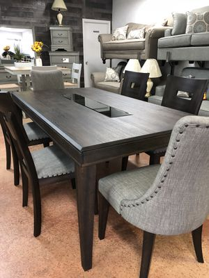 HEAVY HIGH QUALITY 7 Piece XL Dining Room Set W Upholstered Nailhead Chairs And