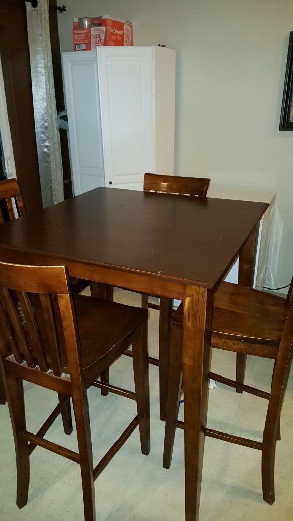 pub style dining room table set with 4 chairs furniture