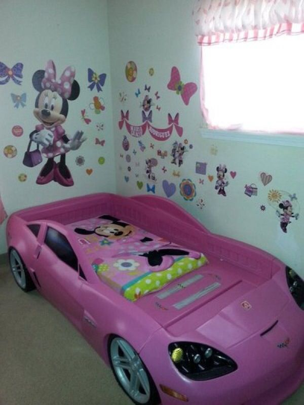 Step2 Pink Corvette Toddler To Twin Bed With Lights