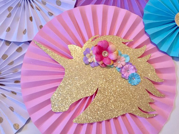 Unicorn Party Decor Paper Rosettes Birthday Decorations Baby Kids
