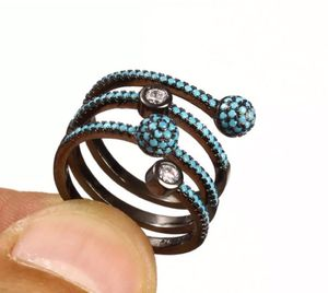 925 Sterling Silver, Turkish Topaz Turquoise, Ring Size 7