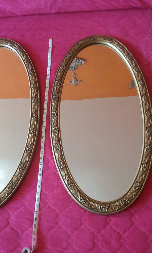 Pair of 2 mid century gold oval frames 19 in x 37 inch (Home ...
