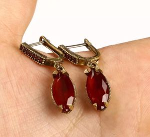 925 Sterling Silver, Turkish Handmade Ruby Earrings