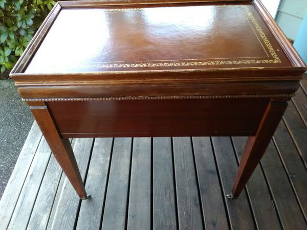 Vintage MidCentury Leather Top SideEnd Table with Metal Wheels