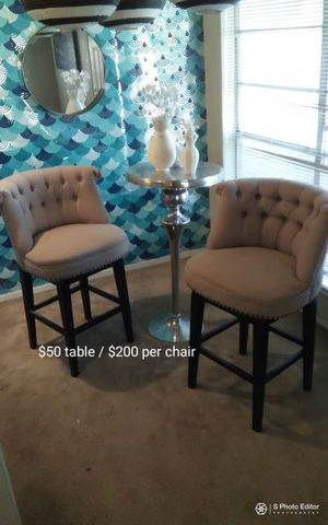 Restoration Hardware high chairs @ $200 per chair, and silver high bar table @ $50 there's 2 of these