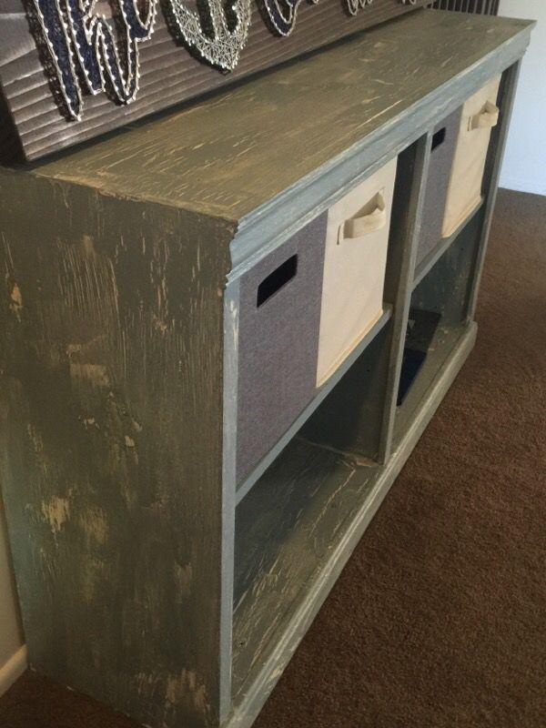 Distressed Wood Bookshelf Entryway Organizer Furniture