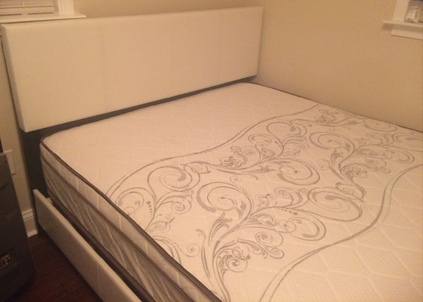 Brand new queen size white platform bed frame and pillowtop mattress