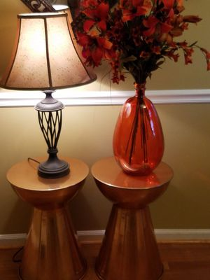Pair of Copper Hourglass Shaped Accent Tables