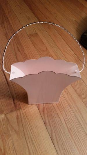 Pink tin hanging basket