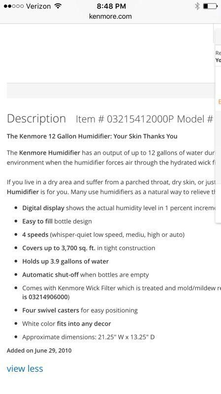 Kenmore 12 Gallon Humidifier Household In Lynnwood Wa