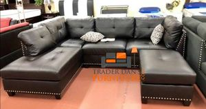 Brand New Espresso Bonded Leather Sectional Sofa + Ottoman (2 Styles Available)