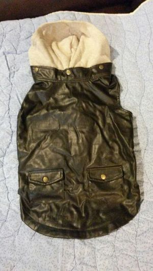 Brown leather dog coat