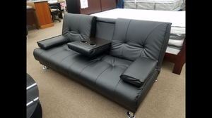 Brand new black color sofa bed with cup holders
