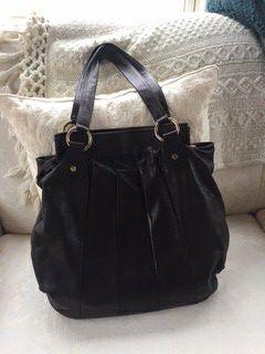 Dark brown Italian leather tote