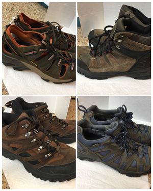 4- men's 9 -9.5 hiking boots and river sandals