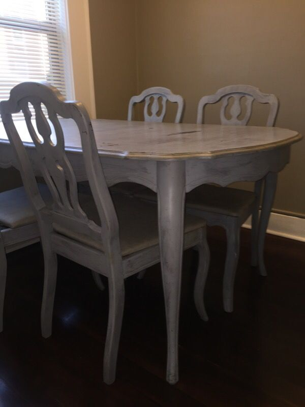 Shabby chic French provincial dining table & 6 chairs