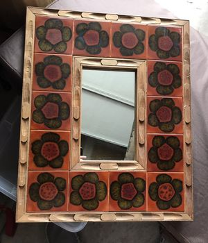 Handmade mirror with handmade ceramic tile borders