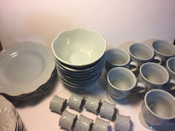 41 Piece Dish Set-Chris Madden Felice Pattern (Household) in Coral ...