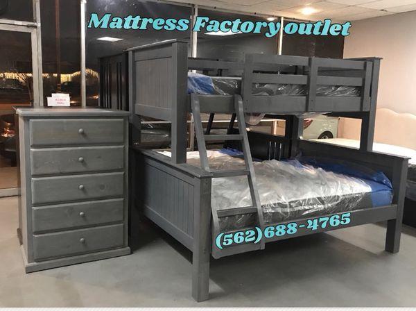 Twin Full Solid Wood Bunkbed Mattresses Heavy Duty Furniture