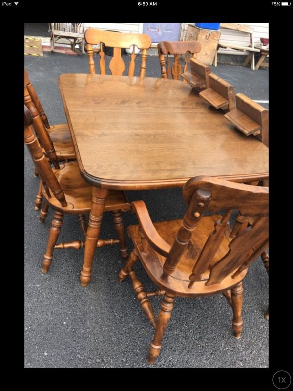 Early American Temple Stuart Rockingham Dining Table 3 Leaves 6 Chairs Furniture In Wellsville PA