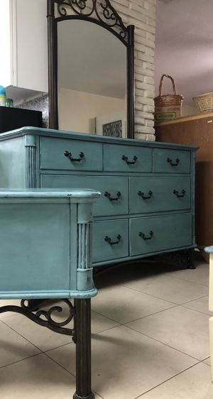 Antique, distressed Dresser, Mirror, and nightstand in Sea Metal