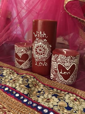 Scented Handmade Henna Candles (customizable)