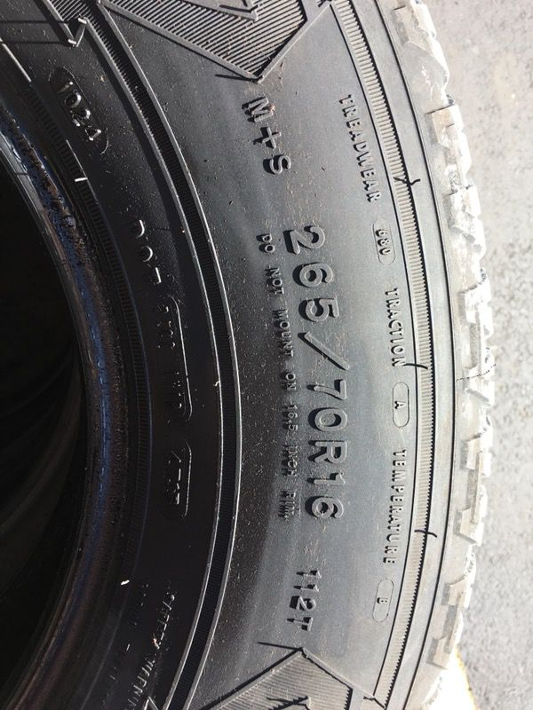 I have a vary chap 4 pair Used Tire Goodyear 265/70/R16
