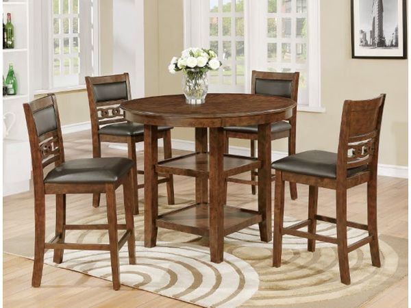 New Round Brown Counter Height Dining Room Table And Chairs