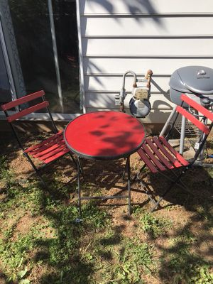 Red outdoor furniture set