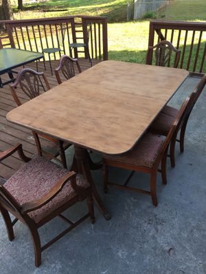 Wood Dining Table 6 Chairs