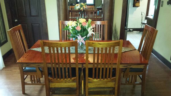 solid red oak dining table and 8 chairs by shin lee - Oak Dining Table And 8 Chairs