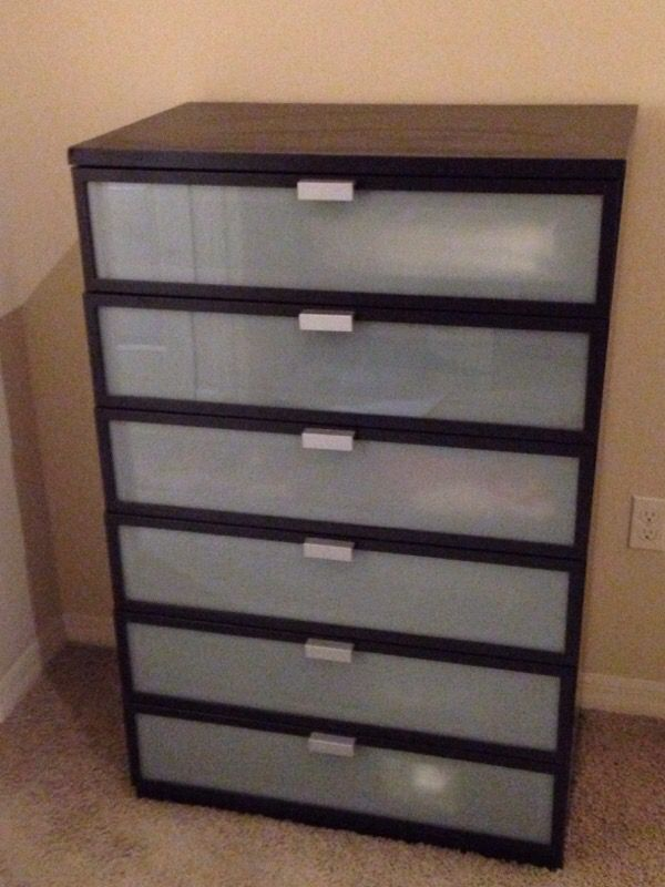 Ikea Hopen  Drawers Chest Black Brown Frosted Glass