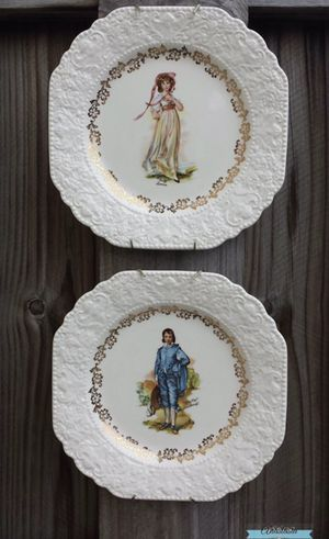 Pinky Lawrence and blue boy antique decoration plates