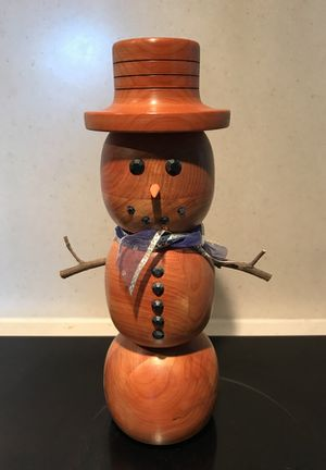 Real wooden carved snowman
