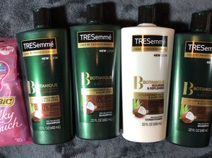 3 Tresmme Shampoo and 1 Conditioner and 1 Pack of Razors $15