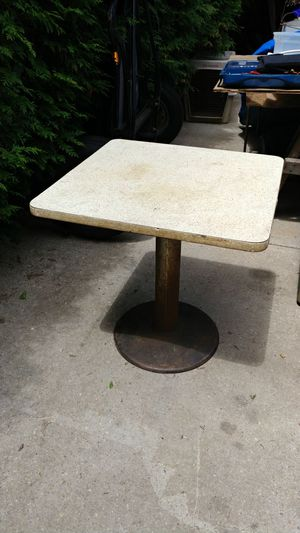 Vintage Cafe table, commercial, heavy steel base, Formica top