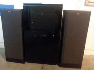 BDI Mirage 8222 AV Tower Home Theater Audio Cabinet w/Curtis Mathis+Panasonic+Sony Powered Sub & Sony 3 way Speakers for sale  US