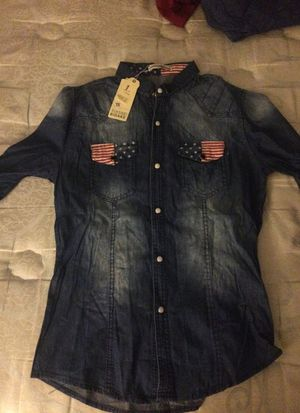 Brand new denim shirt with American flag pockets