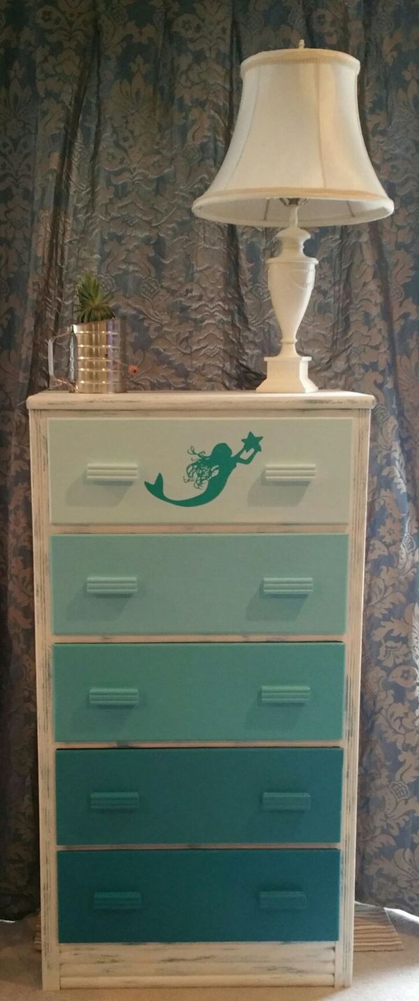 furniture chest lingerie diy painted hometalk sparkling mermaid