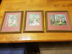 Beautiful vintage three piece framed set