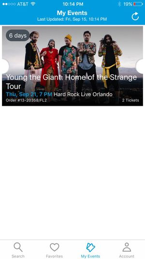 Two tickets to the Young the Giant concert on September 21st at the Hard Rock Orlando